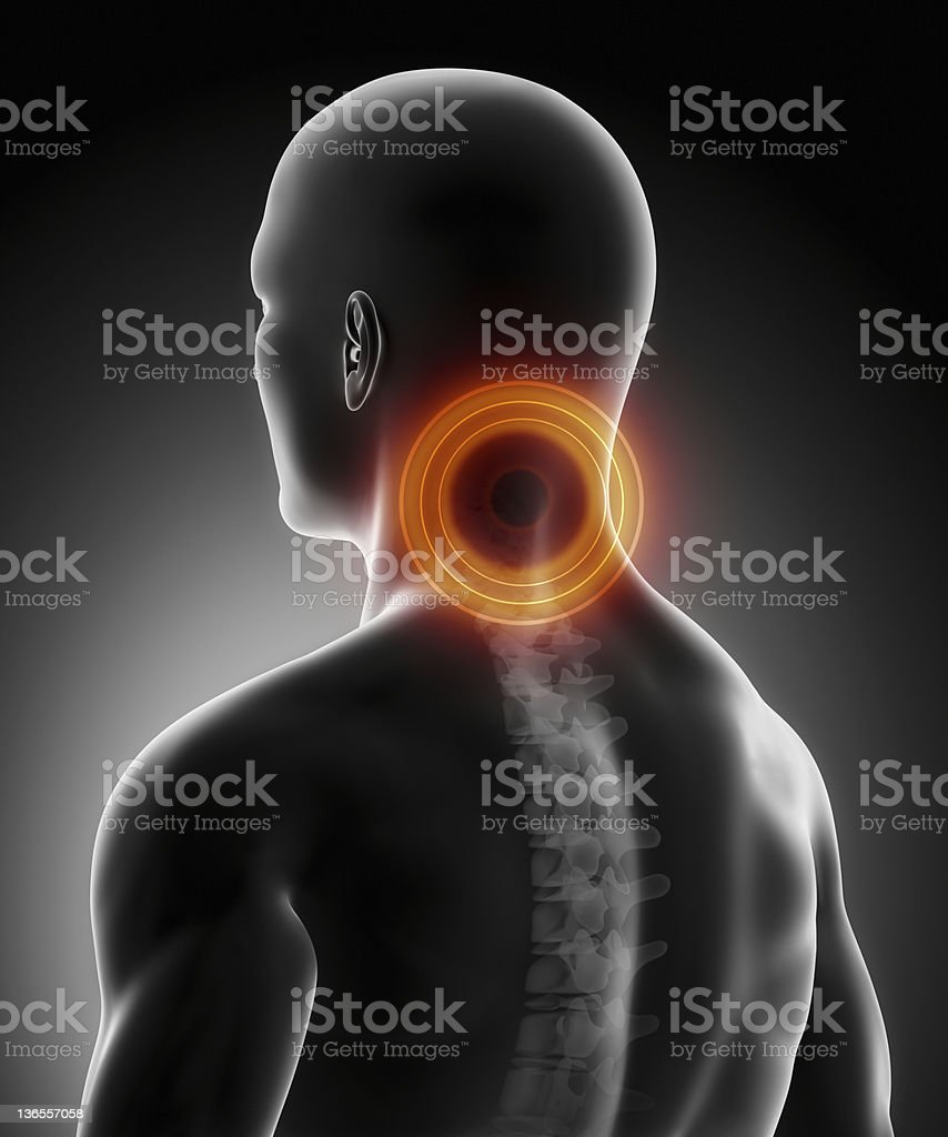 Pain in cervical spine anatomy stock photo