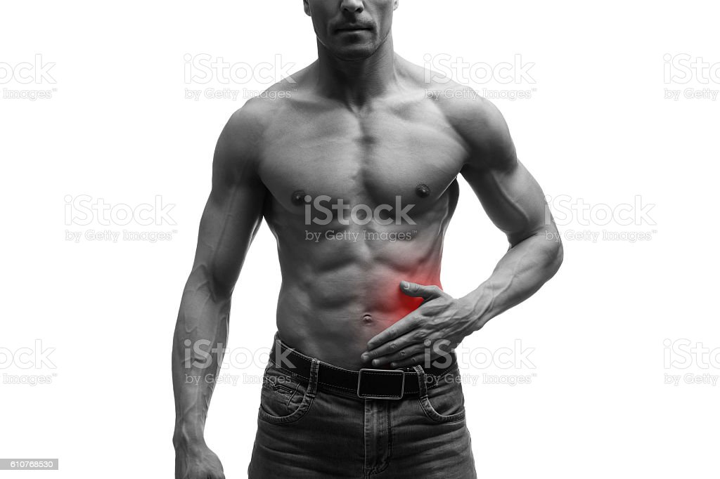 Pain in left side of muscular male body, isolated stock photo