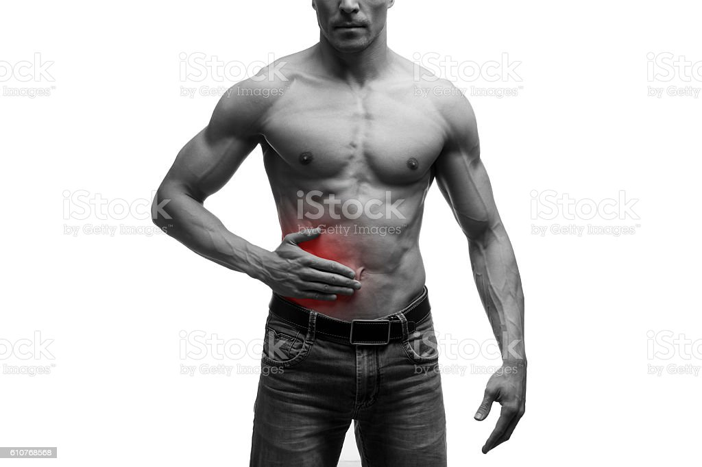 Pain in right side of muscular male body, isolated stock photo