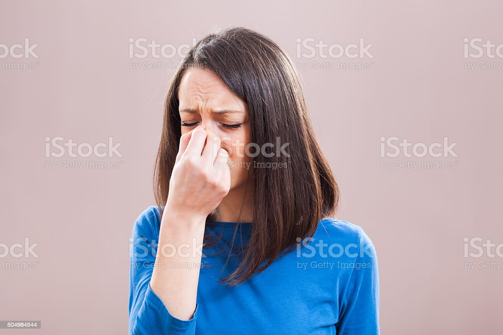 Pain in sinus stock photo