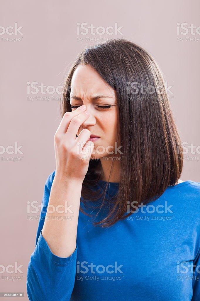 Pain in sinus stock photo