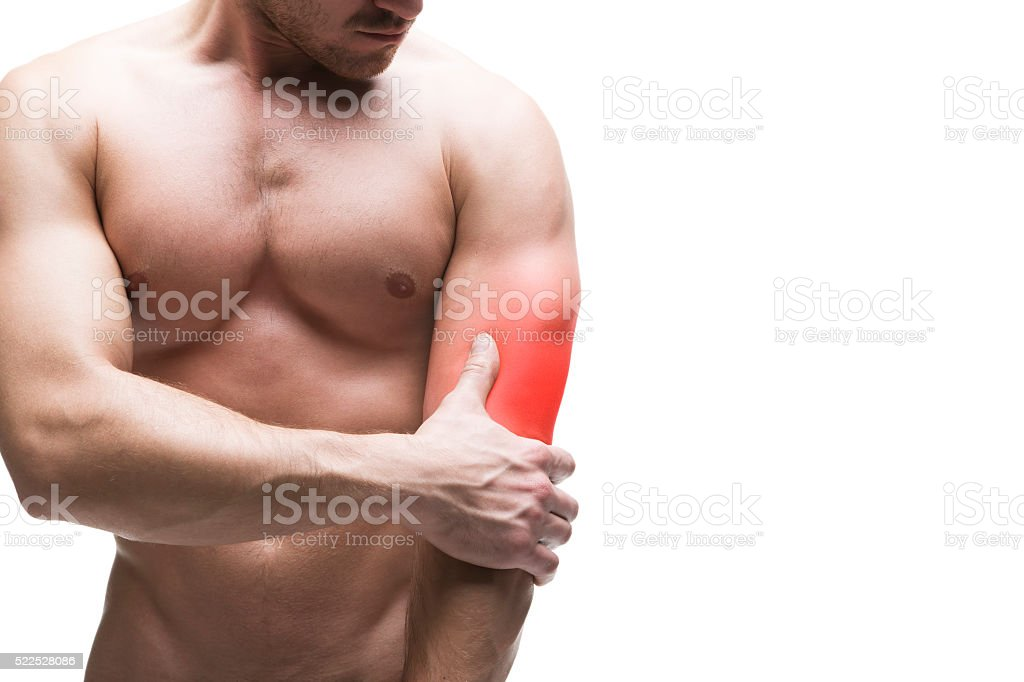 Pain in the elbow isolated on white background stock photo