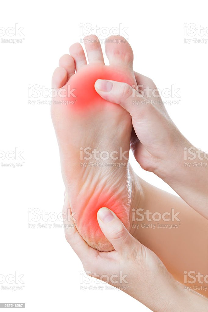 Pain in the female foot stock photo