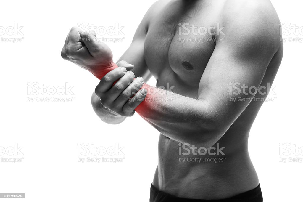 Pain in the hand stock photo