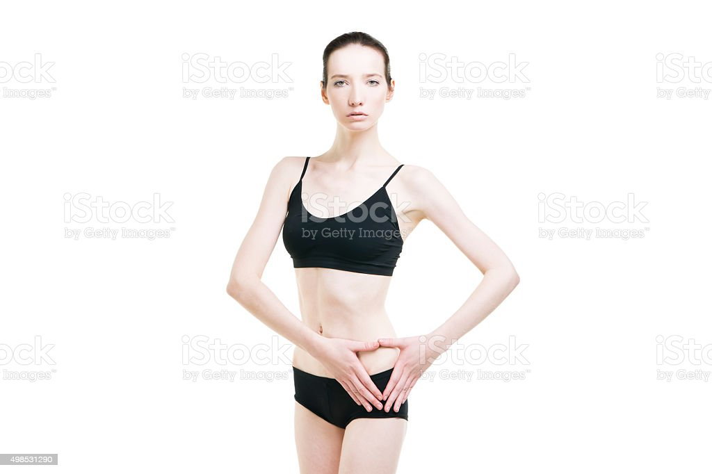 Pain in the left side of the woman body stock photo