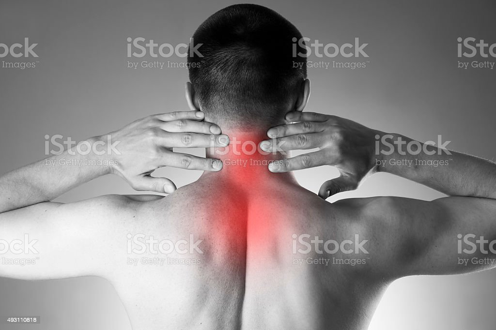 Pain in the neck. Man with backache stock photo