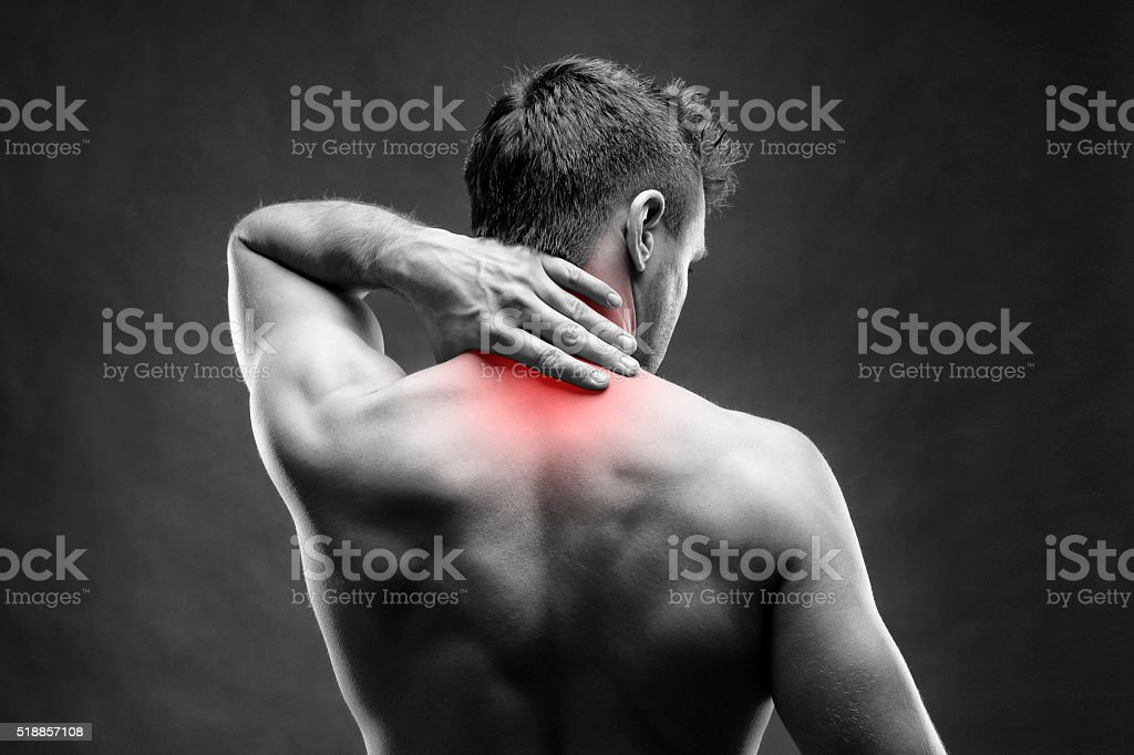 Pain in the neck. Man with backache. Muscular male body. Handsome...