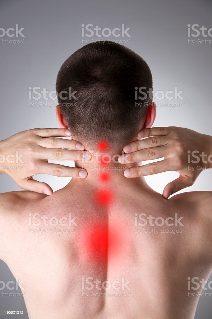Pain in the neck stock photo