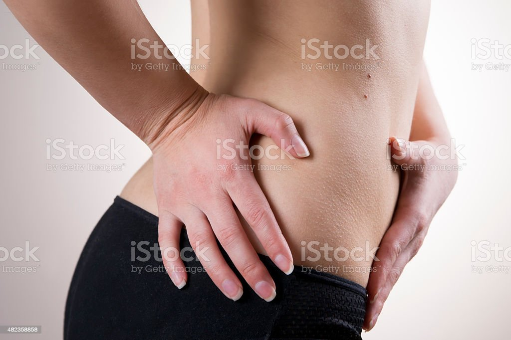 Pain in the woman body. Attack of appendicitis stock photo