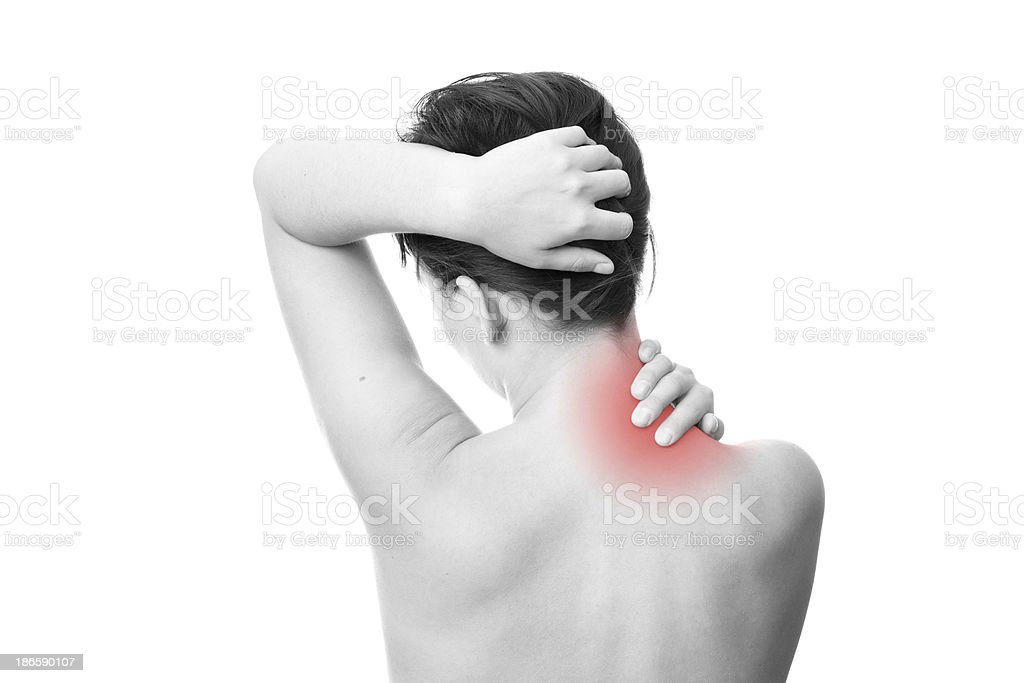 Pain in women neck royalty-free stock photo