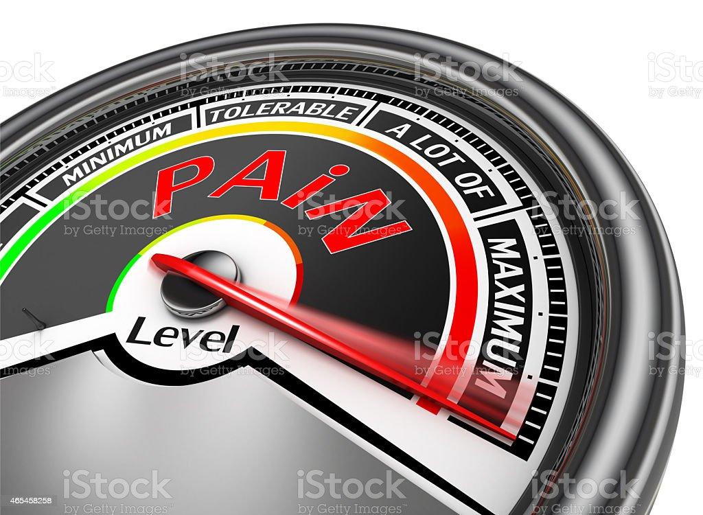 pain level conceptual meter indicate maximum stock photo