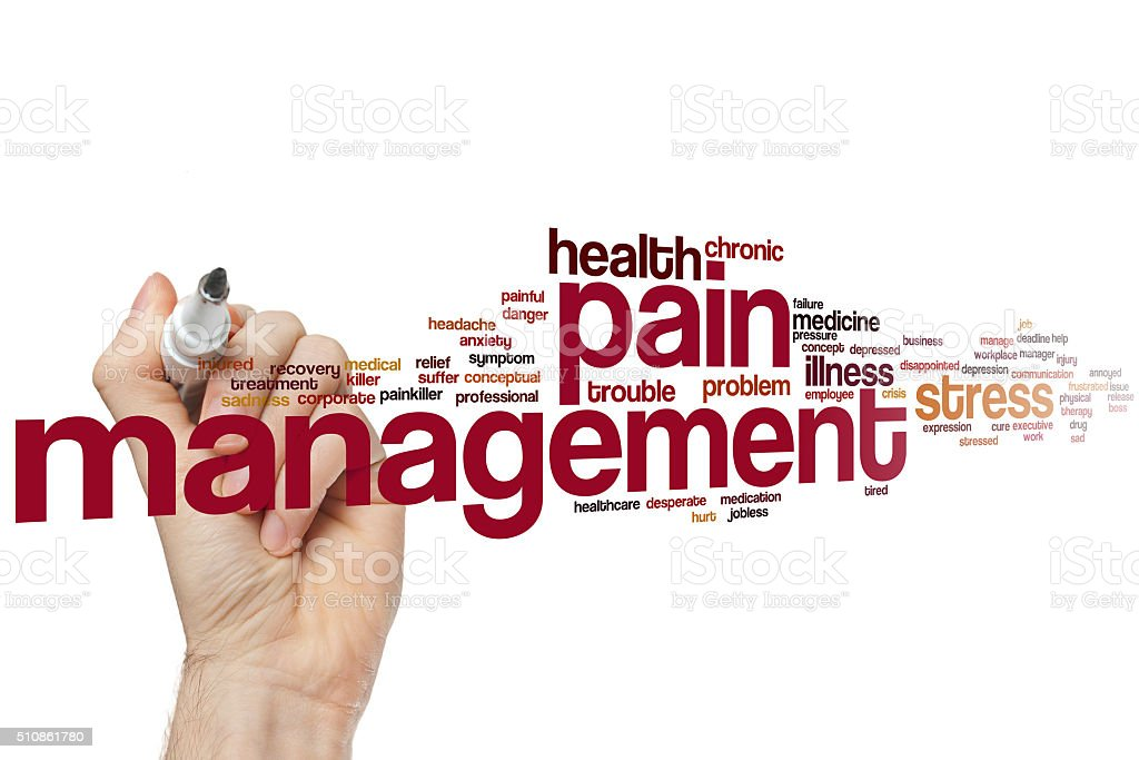 Pain management word cloud stock photo