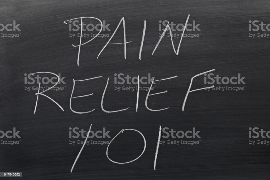Pain Relief 101 On A Blackboard stock photo