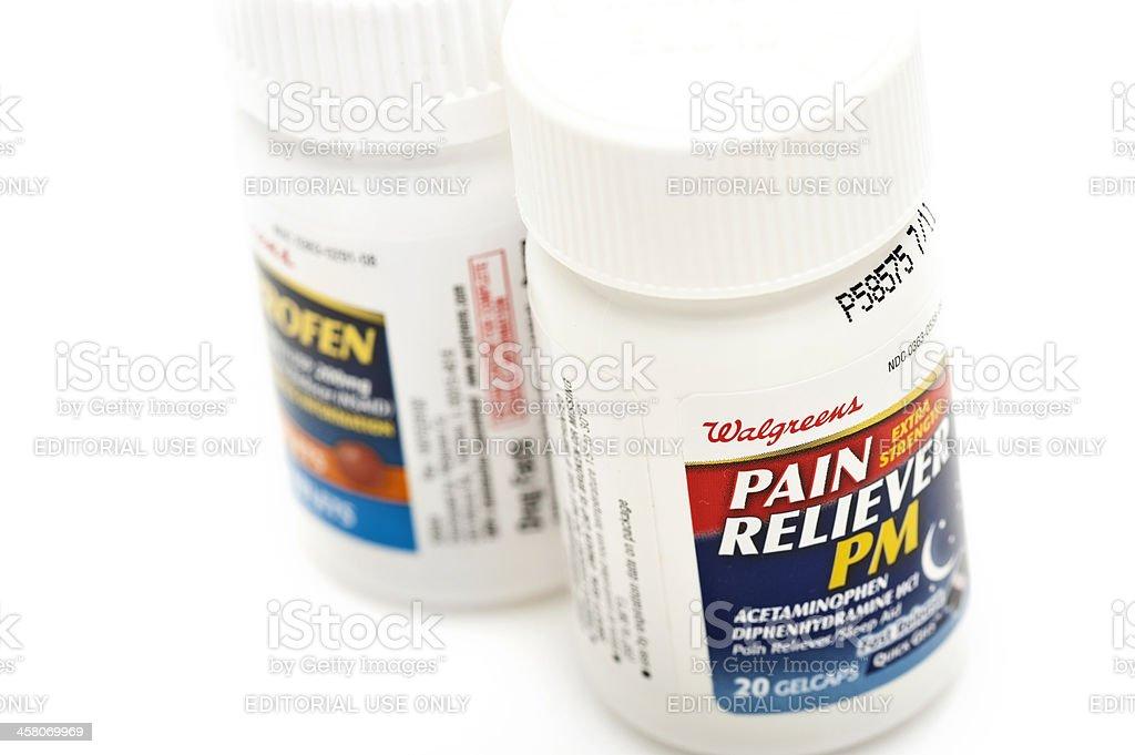 Pain reliever pills stock photo