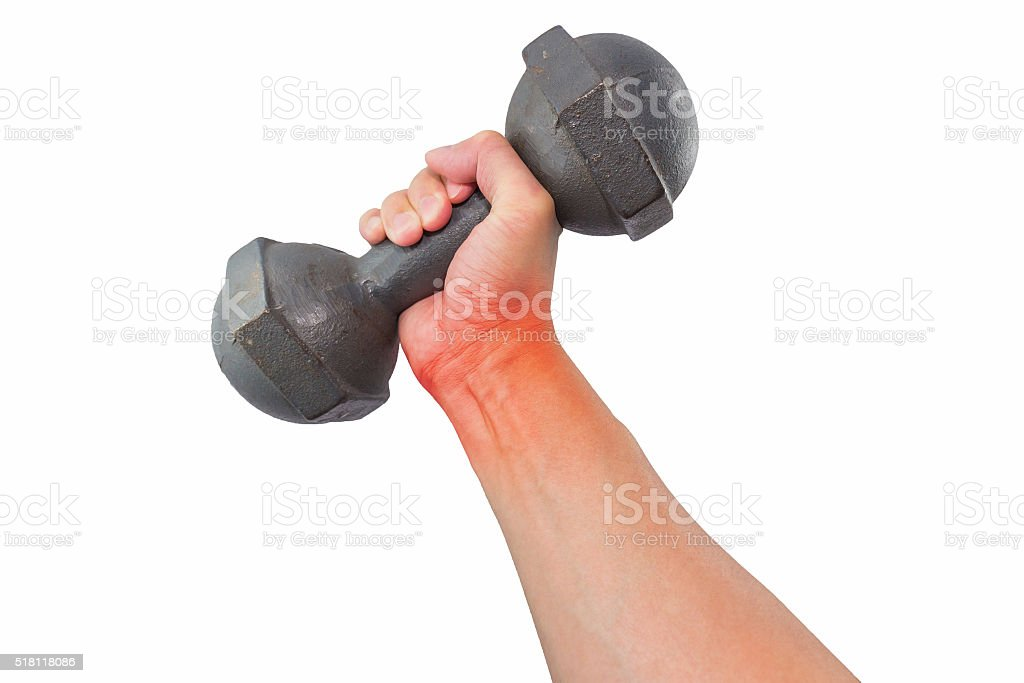 Pain wrist with dumbbell stock photo