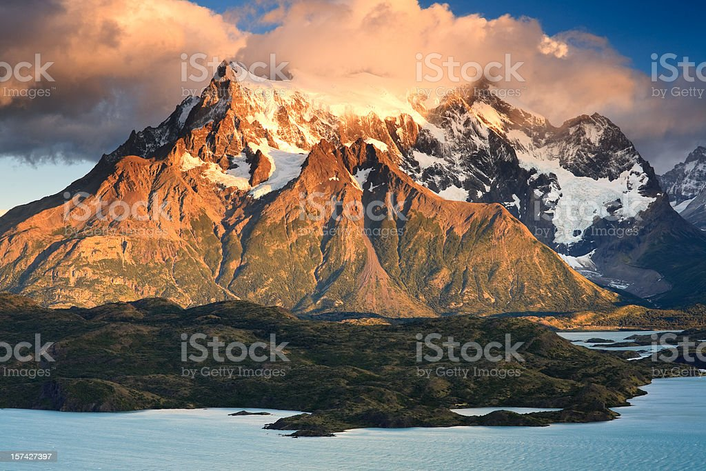 Paine Grande and Lago Pehoe at Sunrise stock photo