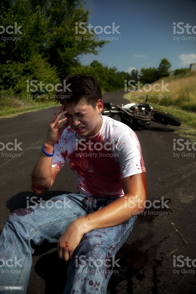 Painful Motorcycle Accident stock photo