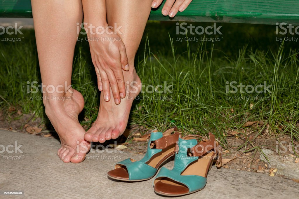 Painful shoes stock photo