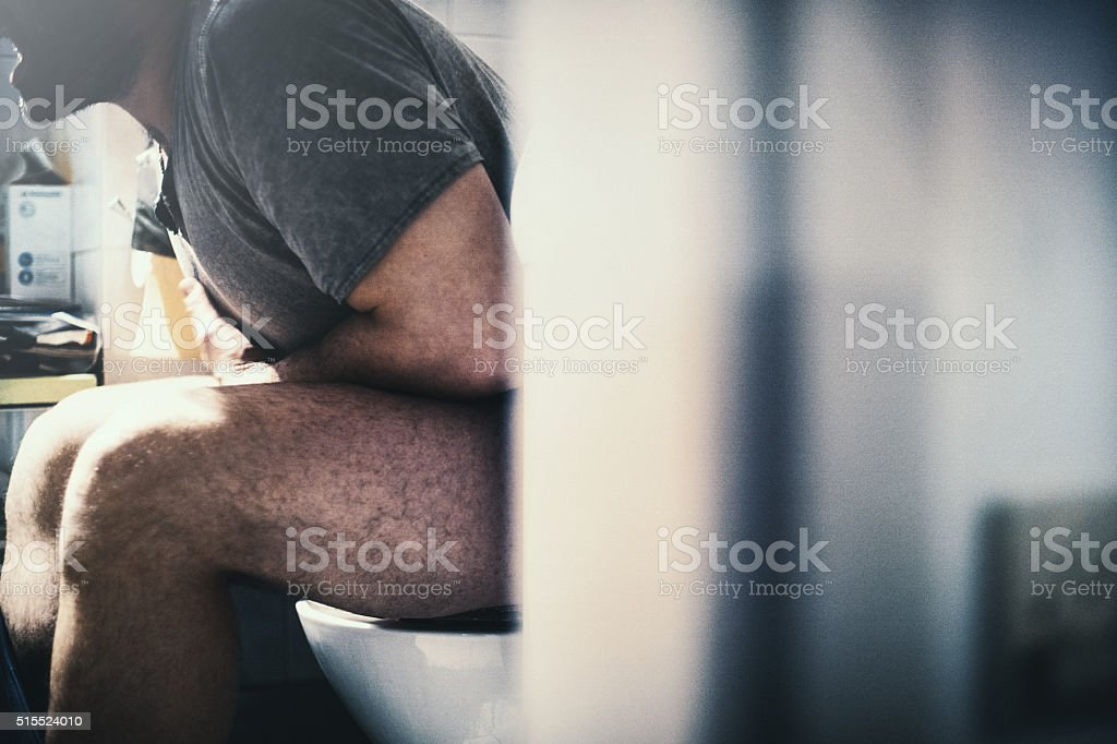 Painful stomach flu. stock photo