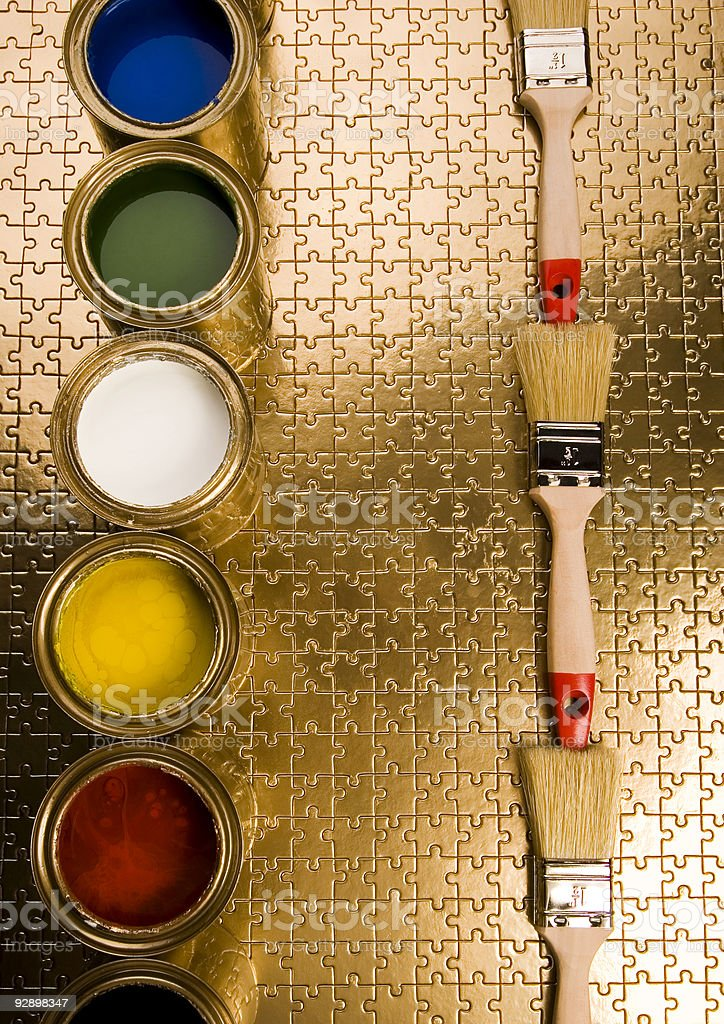 Paint and gold cans royalty-free stock photo