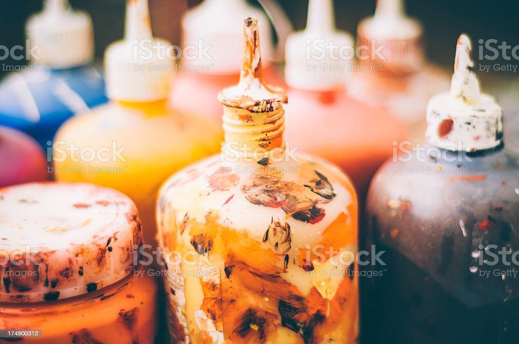 Paint bottles royalty-free stock photo