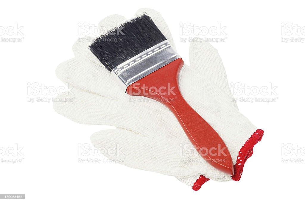 Paint Brush And Cotton Gloves royalty-free stock photo