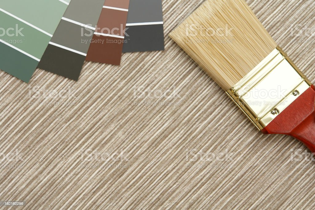 Paint brush and sample colors royalty-free stock photo