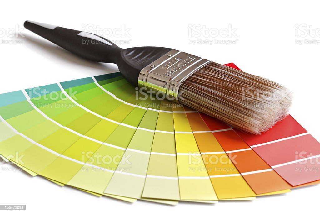 Paint brush and swatches royalty-free stock photo