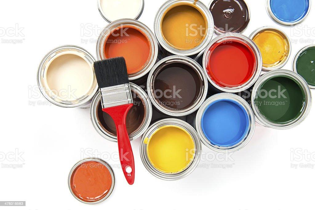 Paint Brush on colorful paints stock photo