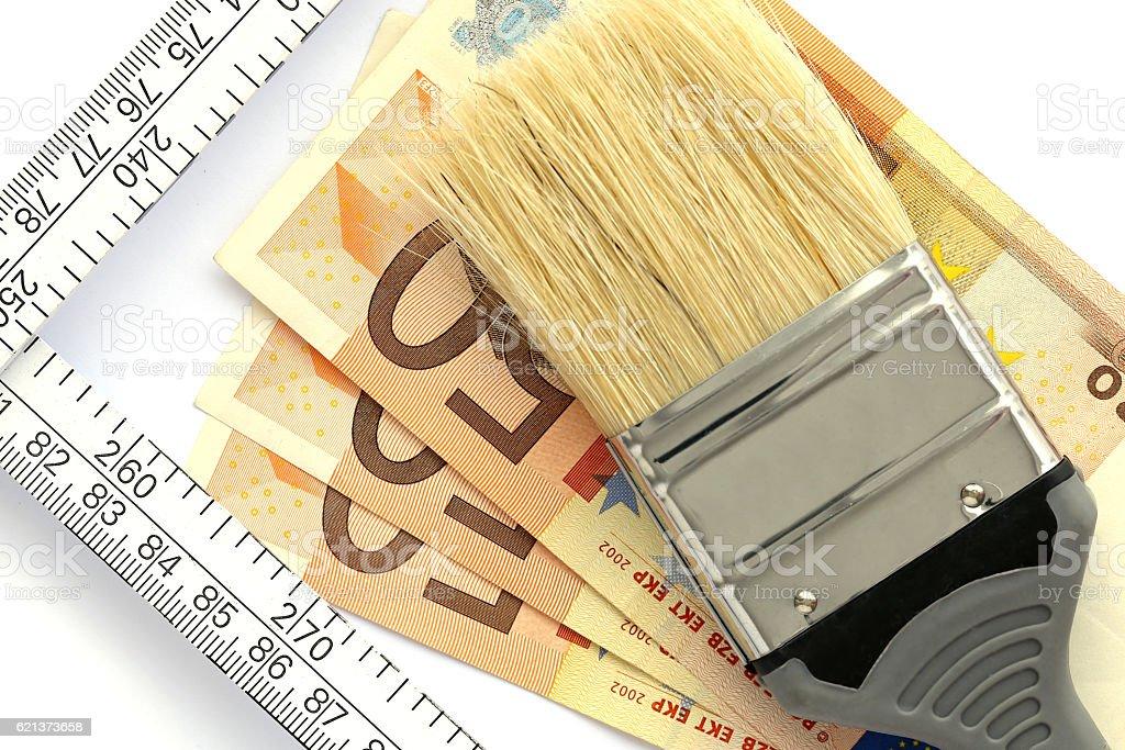 Paint brush on Euro bank notes stock photo