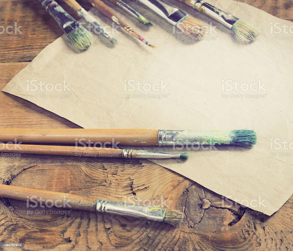 Paint brushes for painting stock photo