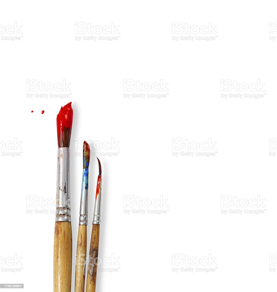 paint brushes isolated on white background stock photo