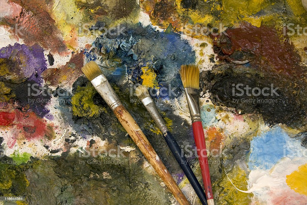 paint brushes on palette royalty-free stock photo