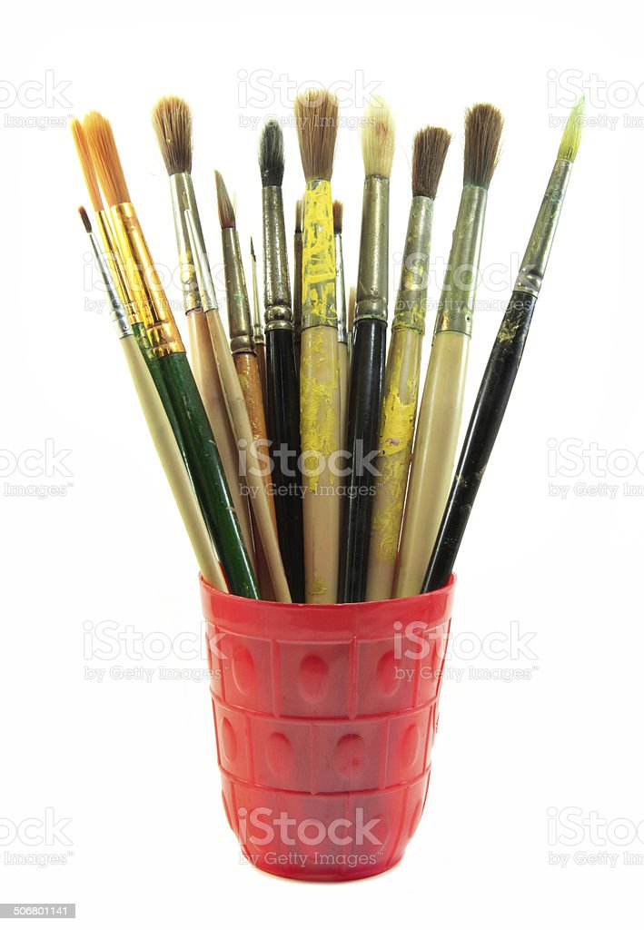 Paint brushes set in the red cup stock photo