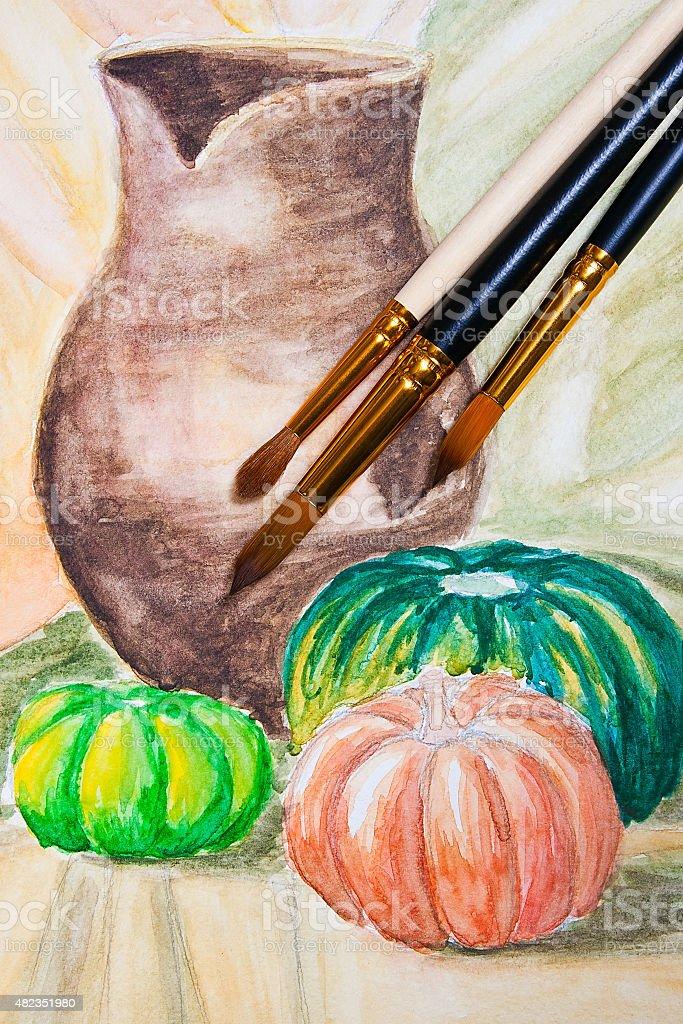 Pinceles pintura con watercolors pintura. foto de stock libre de derechos