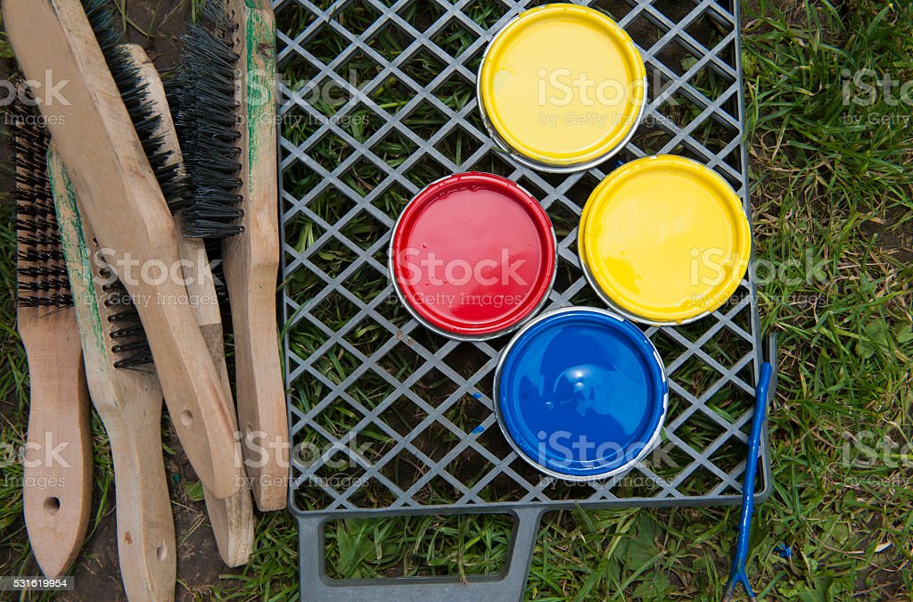 paint bucket and paintbrush stock photo