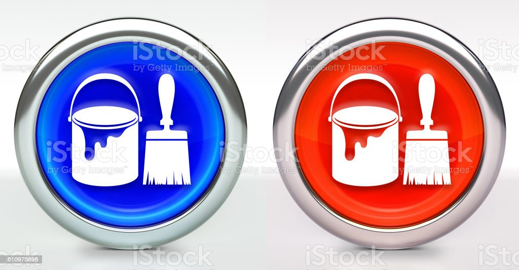 Paint Bucket & Brush Icon on Button with Metallic Rim stock photo