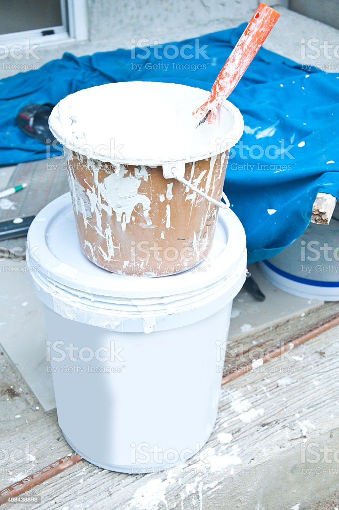 Paint bucket with paint stock photo