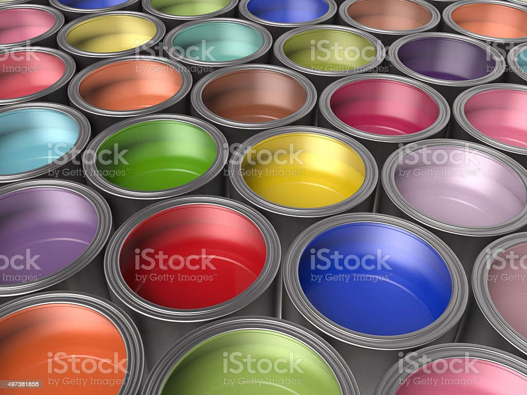 Paint Buckets Background stock photo
