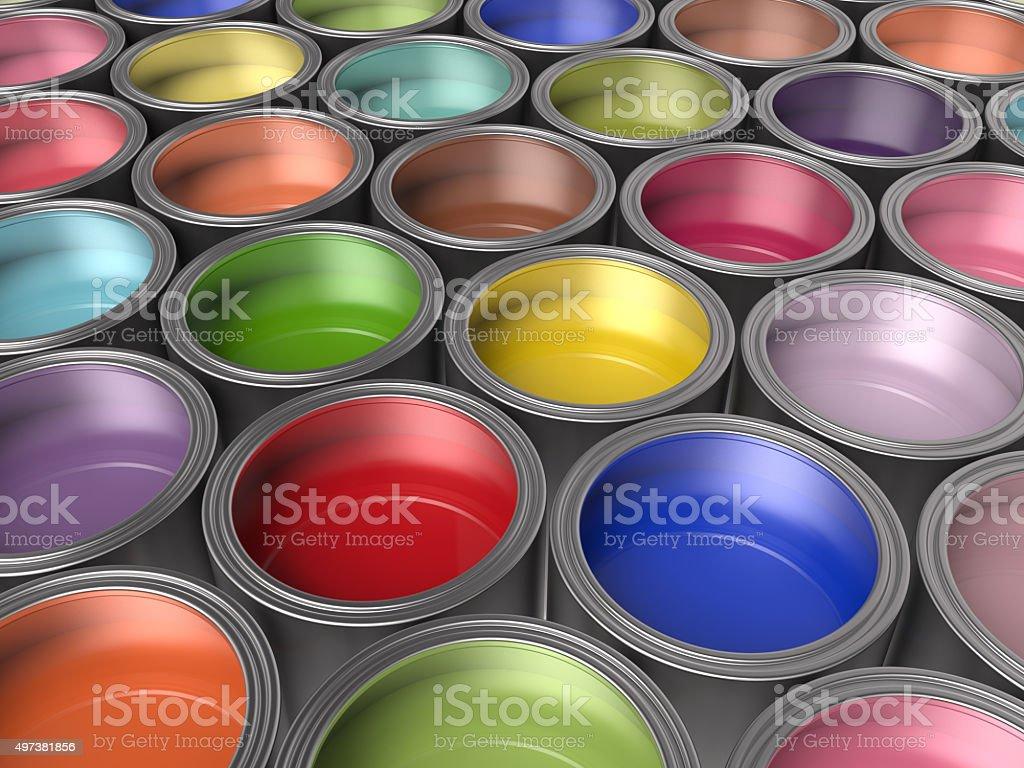 Paint Buckets Background stock photo