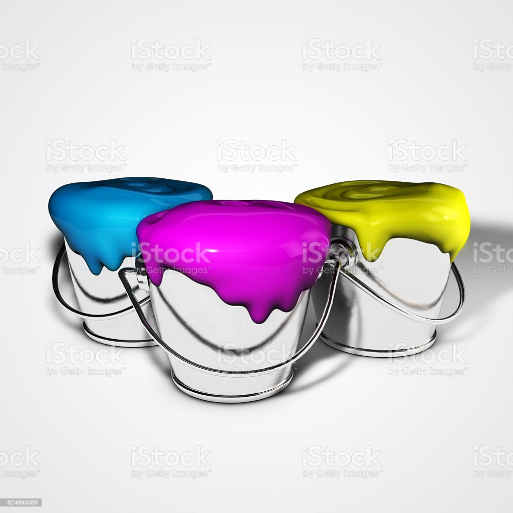 Paint buckets with cyan magenta yellow paint. 3d illustration stock photo