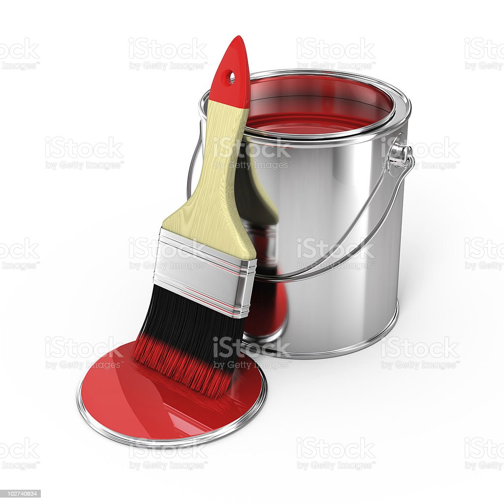 Paint can and brush stock photo