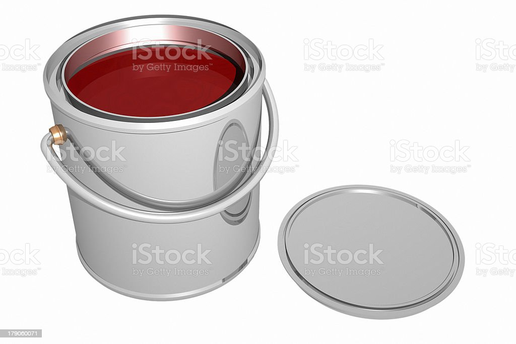 Paint can and cover (3D) stock photo