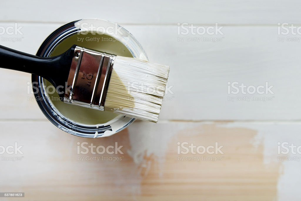 Paint Can and Paint Brush from above stock photo