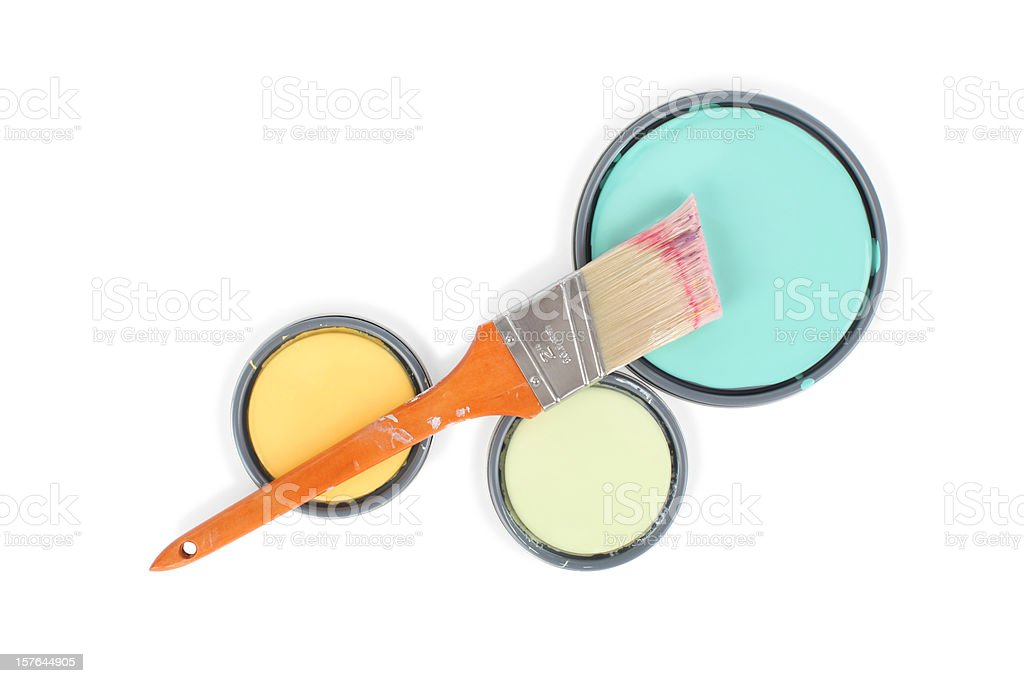 Paint Can Lids and Brush with Clipping Path stock photo