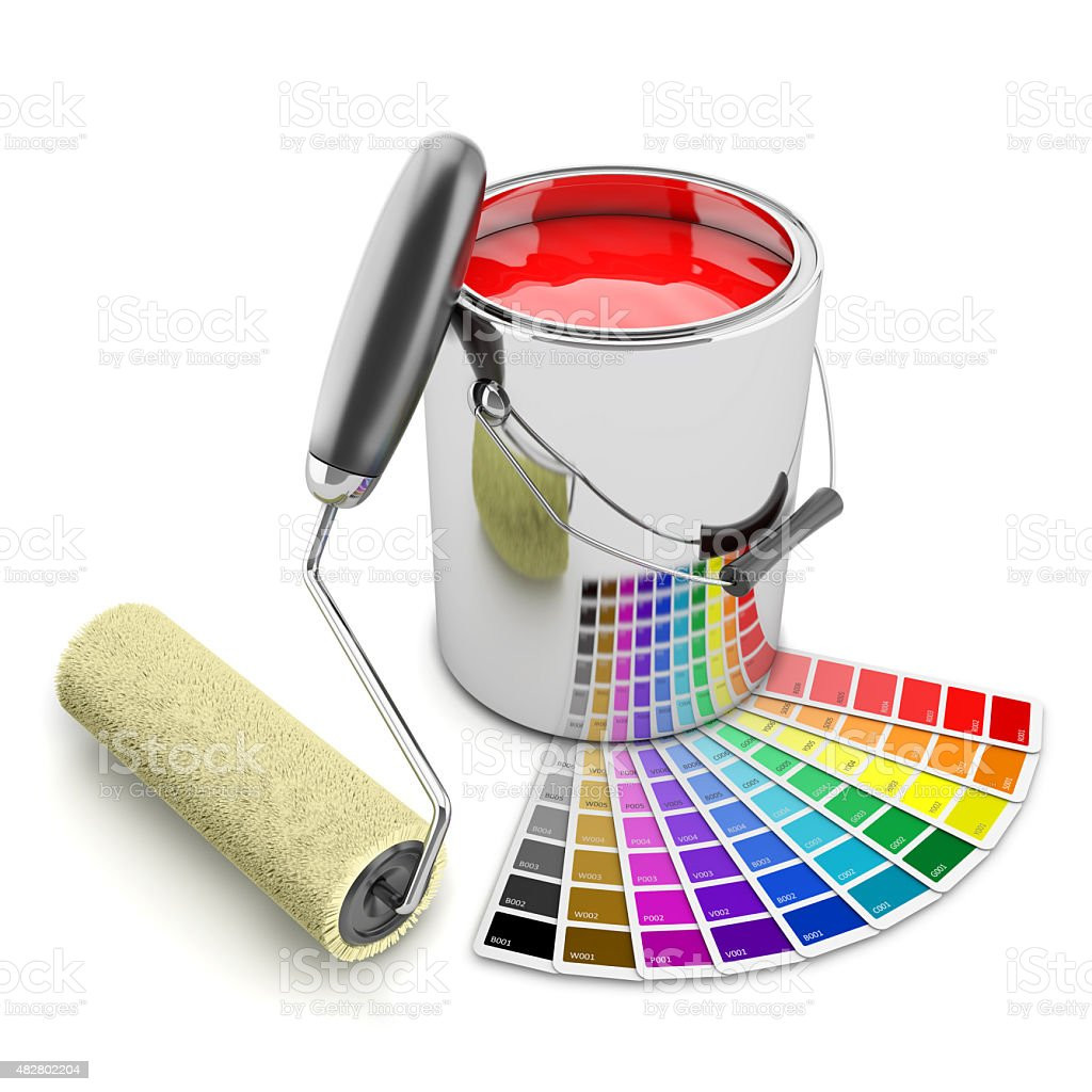 Paint can, palette and roller brush. Concept 3d stock photo