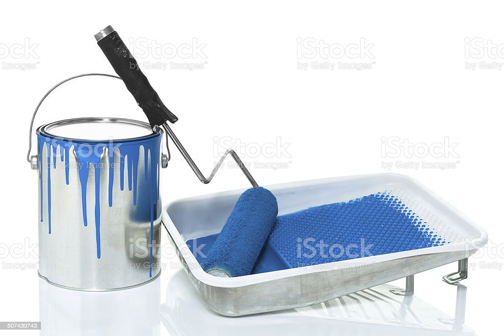 Paint can, roller and paint tray isolated on white stock photo
