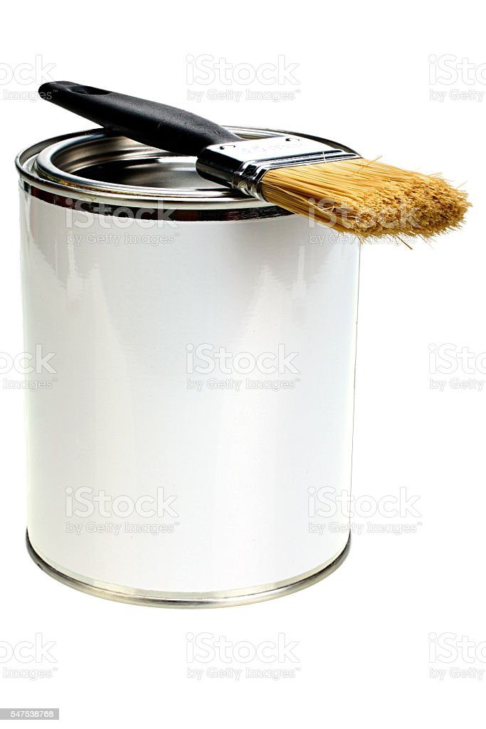 Paint can with blank white label and paintbrush isolated stock photo