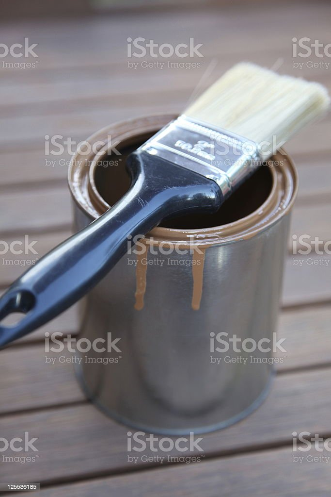 Paint can with brand new brush royalty-free stock photo