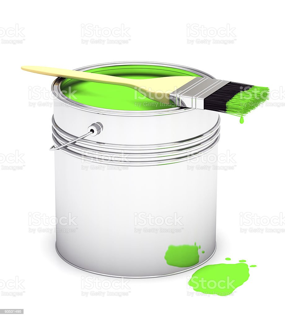 Paint Can with Brush stock photo